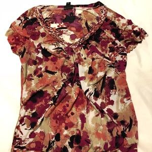 🏖 Women's short sleeve top. Brown & pink floral